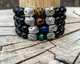 Men buddha bracelet, Yoga bracelet, Healer & Spiritual bracelets, Beaded Bracelets, Mens bracelets, Women bracelets, Black bracelet