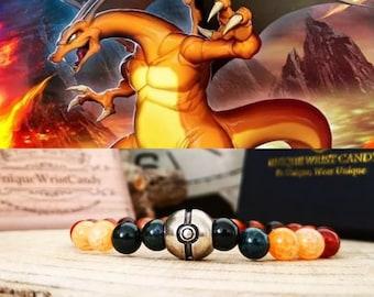 Pokémon, Pokémon Charizard bracelet, Charizard pokémon jewelry, Pokémon jewels, Pokémon gift bracelet, Beaded pokémon bracelet
