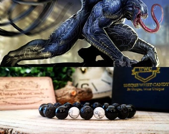 Ultimate Venom bracelet, Marvel bracelet, Bracelet for men, Gift for him, Birthday, Marvel comics, Beaded bracelet, Black bracelet