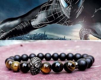 Spiderman bracelet, Marvel bracelet, Hero bracelet, Mens beaded bracelet, Tiger eye bracelet, Father's day gift, Stretch bracelet