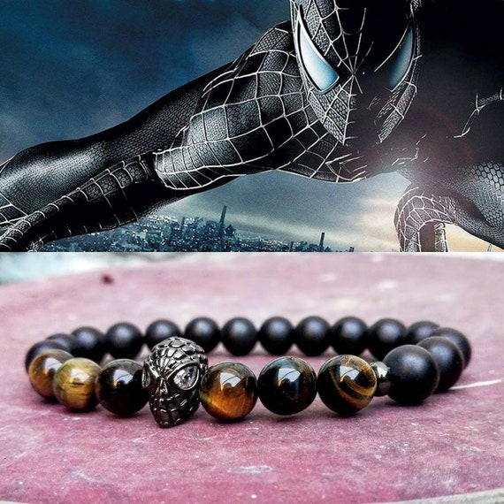 Spiderman bracelet, Marvel bracelet, Hero bracelet, Mens beaded bracelet, Tiger eye bracelet, Father's day gift, Stretch bracelet