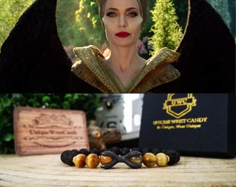 Maleficent 2, Maleficent 2 bracelet, Disney villain, Disney princess, Disney gift bracelet, Tiger eye bracelet, Angelina Jolie bracelet
