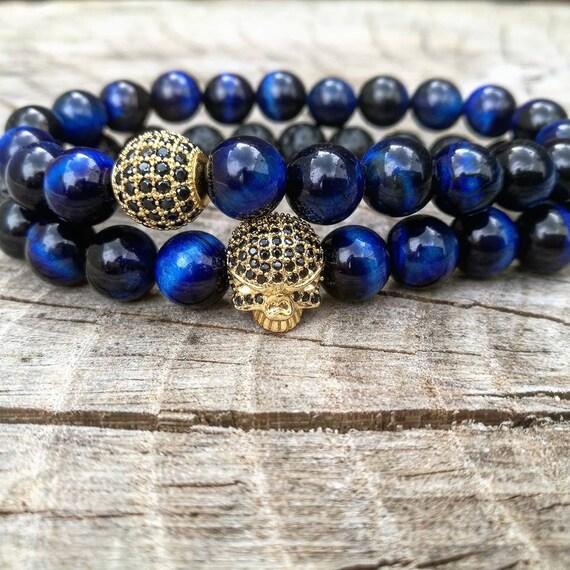 Custom beaded bracelets for men, Gold skull, Blue tiger eye bracelet, Black lava bracelet, Gift for men, Gift for him, Luxury bracelets