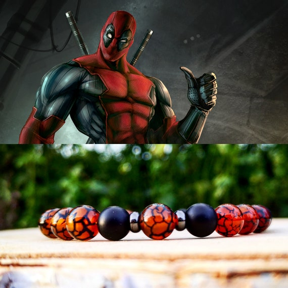 Deadpool bracelet, Marvel bracelet, Bracelet for men, Gift for him, Birthday, Marvel comics, Beaded bracelet, Black bracelet