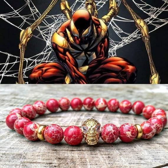 Spiderman bracelet, Men's bracelet, Marvel bracelet, Hero bracelet, Men beaded bracelet,  Father's day gift, Stretch bracelet, Marvel comics