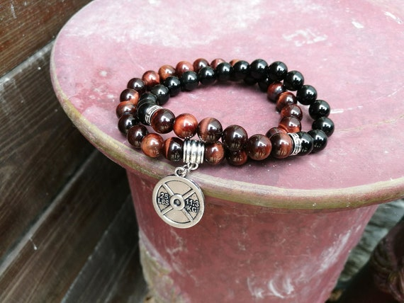 Gym bracelet, Fitness bracelet, Gift for men, Gift for women, Beaded gym bracelet, Tiger eye bracelet, Holiday gift, Fit bracelet