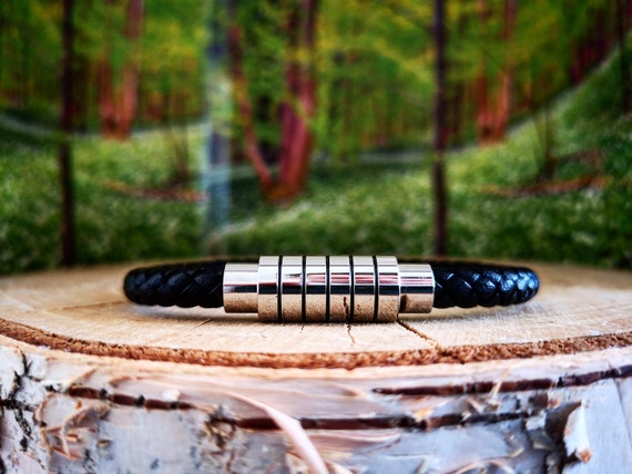 Black leather bracelet for men, Magnetic clasp bracelet for him, Gift for men, Men's gift, Leather men's bracelet