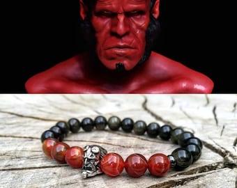 Men's hellboy beaded bracelet, DC Comics bracelet, Hero bracelet, Gift for him and her, Women hellboy beaded bracelet, Gift bracelet