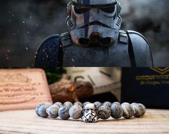 Stormtrooper bracelet, Star Wars beaded bracelet, Bracelet for men and women, White stormtrooper, Star Wars gift, Gift for him