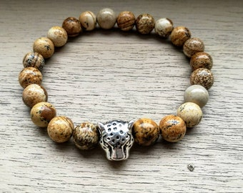 Leopard bracelet, Men bracelet, Mens bracelet, Women bracelet, Womens bracelet, Beaded bracelet, Bracelet for men, Animal bracelet