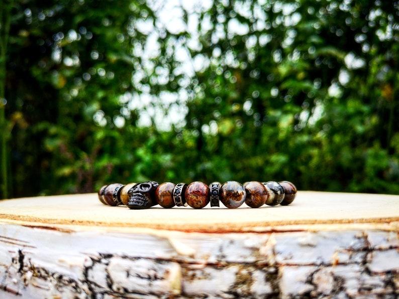 Skull bracelet Gift for men Gift bracelet Beaded bracelet for men Men/'s jewel Beads bracelet Brown beads Jewelry for men