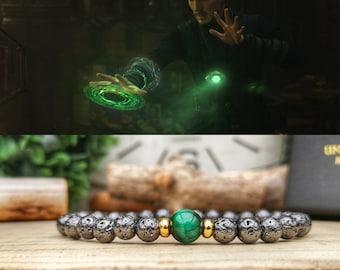 Time Stone bracelet, Infinity stone bracelet, Marvel comics bracelet, Marvel for him, Marvel Infinity stone, Avengers bracelet, Marvel gift