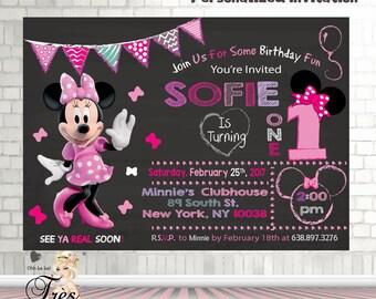 Minnie Mouse Birthday InvitationMinnie 1st Invitation Invitation1st