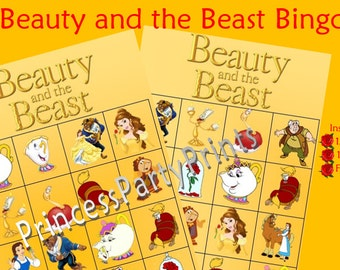 Beauty and the Beast Bingo- Instant Download-Printable