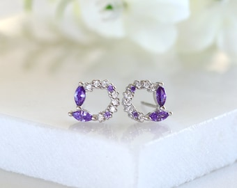 Details about  /Natural Amethyst Jewelry Set Tiny Dainty Minimalist 925 Sterling Silver Handmade