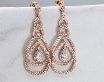 704a1d158 Rose Gold Earring Bridesmaid Chandelier Earrings Bridesmaid Gift Bridal  Drop Earrings Bridesmaid Earrings Wedding Earrings E004