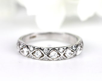 Stackable Sterling Silver Half Eternity Ring Boho Ring Minimalist Stacking Ring