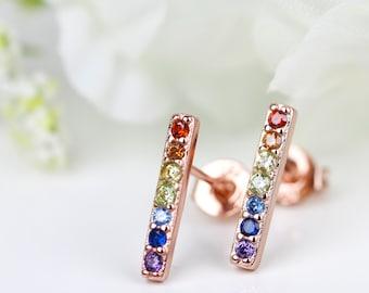 Dainty multicolor Bar Stud Earrings, Rainbow Studs, 7 Chakra Earring Studs, Rose Gold Bar Studs Stacking StudsHealing Stone Yoga Rose Gold
