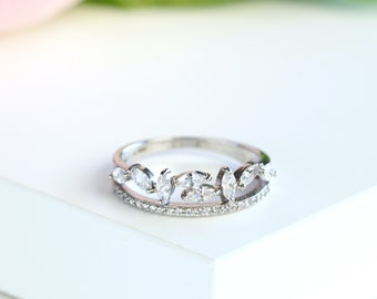 Cluster Ring, Marquise Diamond Cluster Ring in Sterling Silver/Rose Gold Stackable Half Eternity Ring Simple Ring S152