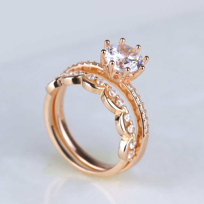 2 ct Round Cut 8-prong Floral-inspired Solitaire with Accents Rose Gold Sterling Silver EngagementRound Promise Ring