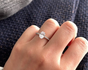 1.5 ct Oval Cut Solitaire Engagement Ring Sterling Silver Promise Ring Wedding Jewelry Valentine Gift for Her