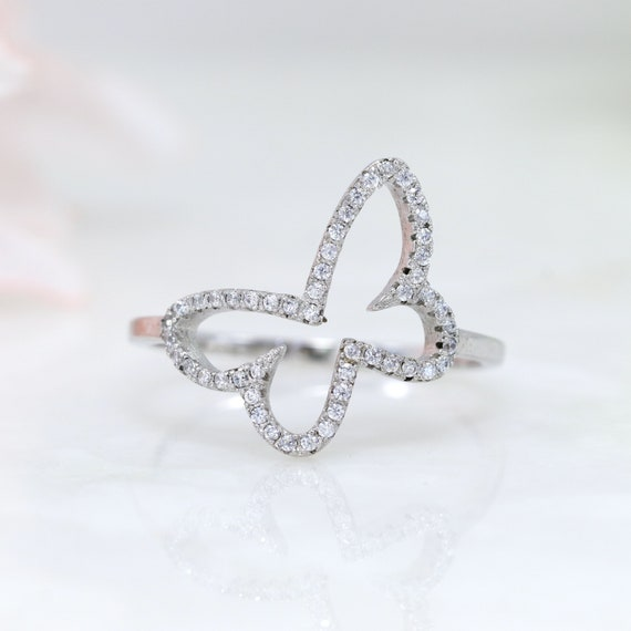 Sterling Silver Butterfly RingButterfly RingStatement Ring925 Sterling Silver RingCubic Zirconia Ring S121