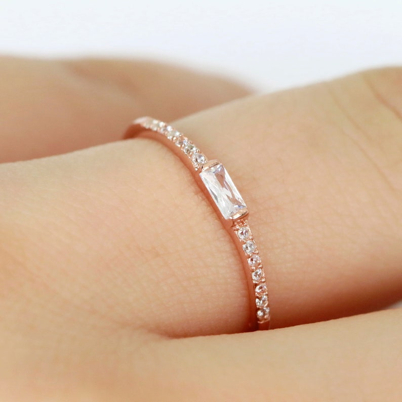 46ce316583529 Simple Thin CZ Rose Gold Plated Baguette Ring in Sterling Silver  /Engagement Ring/Stackable Ring/Promise Anniversary Ring S134