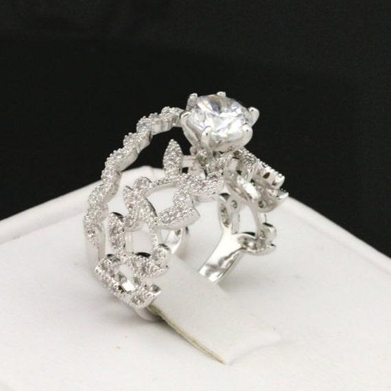 Vintage Ring Floral Ring Wedding Ring Set Cz Etsy