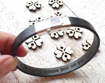 Men Bracelet personalized, engraved inside, Leather Custom Bracelet, Brown Leather Cuff. Engrave Leather Bangle, Men Strap Bracelet