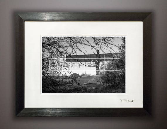 Angel Of The North Black White Framed Photography Print Etsy