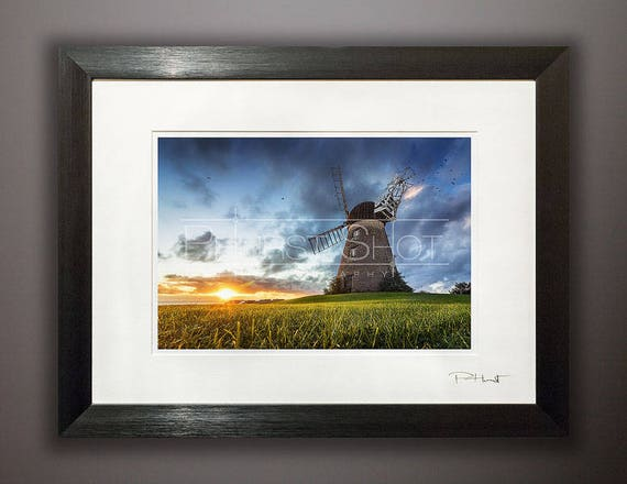 Landscape Framed Print Windmill Photography Print North East Etsy