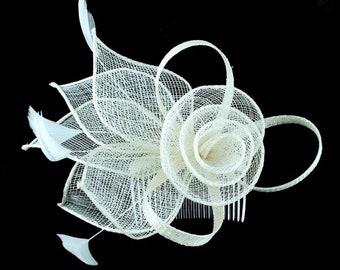 Ivory, cream, champagne, white, Fascinator, Fascinators, Fascinator hat, hat, wedding, ascot, derby, races, wedding hat, hatinator