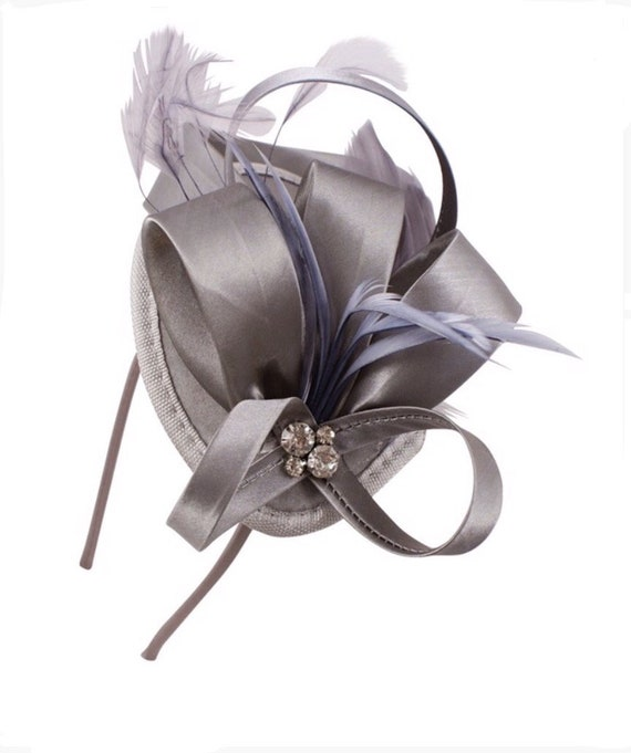 Silver grey gray metallic smoke platinum fascinator  2d0837f04a5