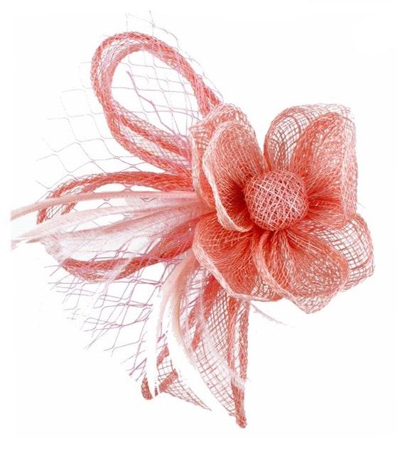 prix attractif bons plans sur la mode bon out x Rose, rose pâle, blush, rose pâle, Bibi, Bibis, Bibi chapeau, chapeau,  hatinator, mariage, Lavallière, derby, accessoire de cheveux, saumon