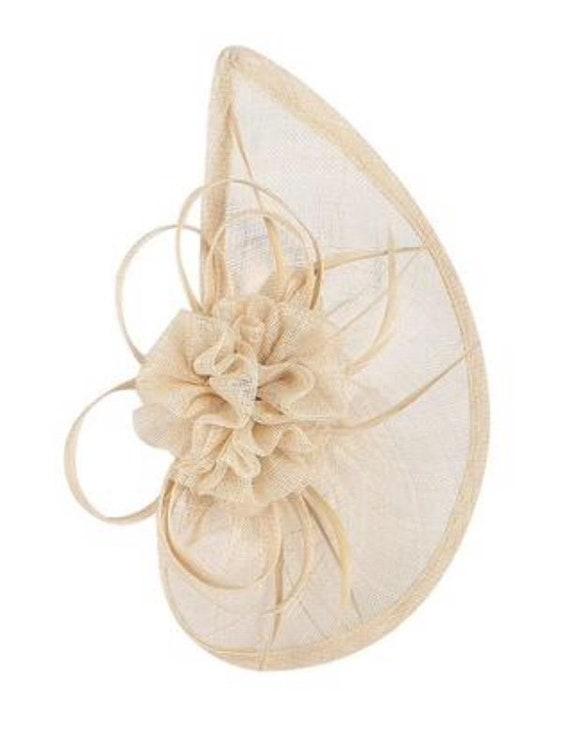 headband champagne ascot hatinator beige Fascinators Fascinator wedding blush neutral hat derby Nude headband hair accessory