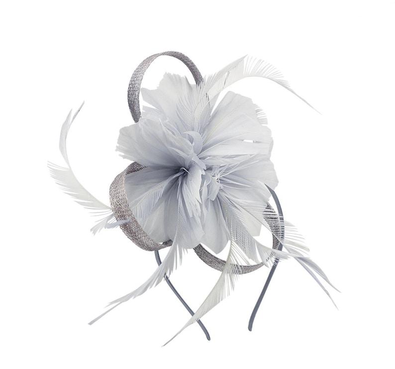 Grey Fascinator gray Fascinator gray Fascinator hat silver  a67bf7addce