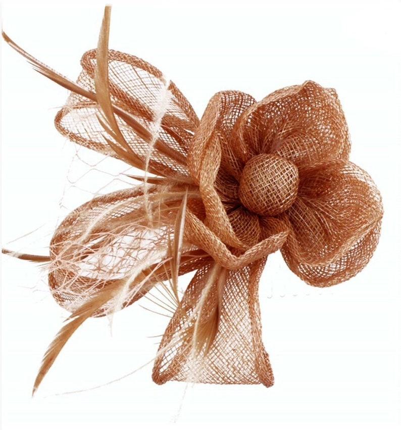 Bronze rust orange copper gold Fascinator hat  689fc76b78d