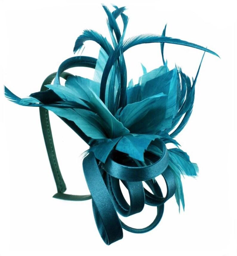 ef75f331189 Teal aqua petrol blue green sea green Fascinator hat | Etsy