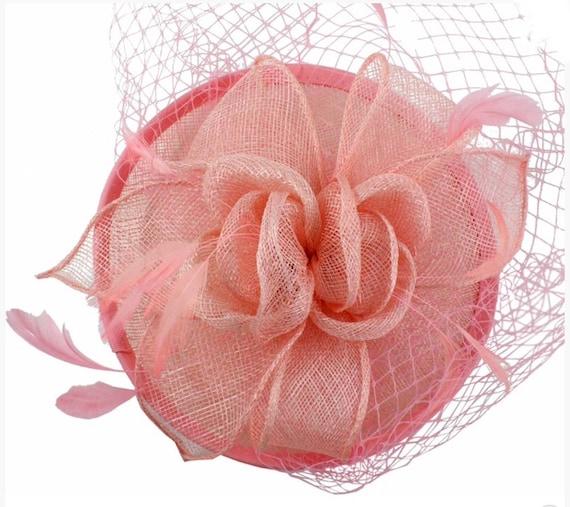 Light Pink Coral Pink Fascinator Hat Flower Veil