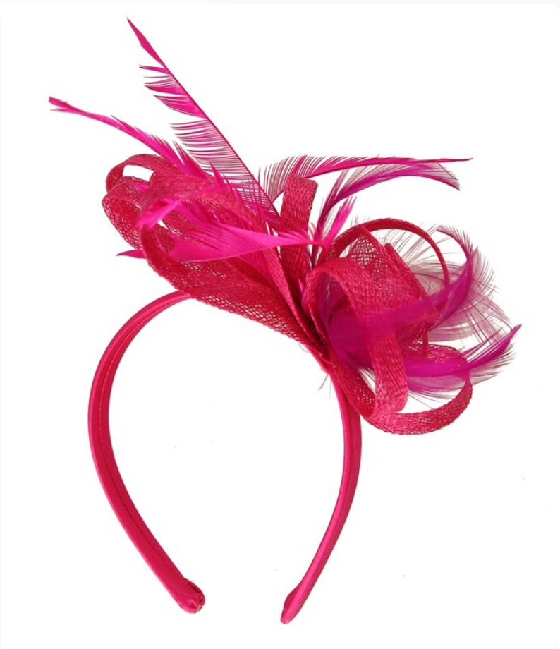 2400d36acdd86 Pink hot pink bright pink Fascinator hat fascinators