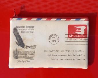 Zip Pouch - Vintage Envelope - Vegan Leather - Women's Bag