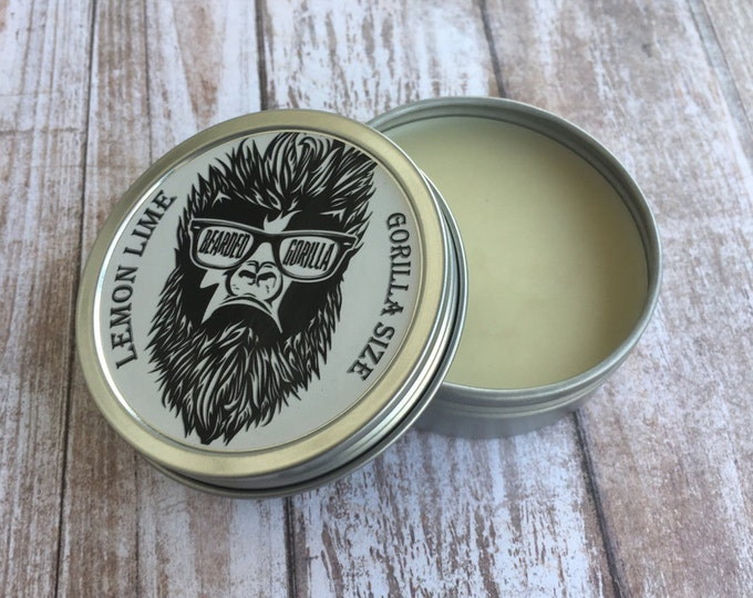 Lemon Lime Scented All Natural Moisturizer Beard Balm, Man Gift, Bearded Man Gift, Father's Day Gift, Mens Beard Products-GORILLA SIZE