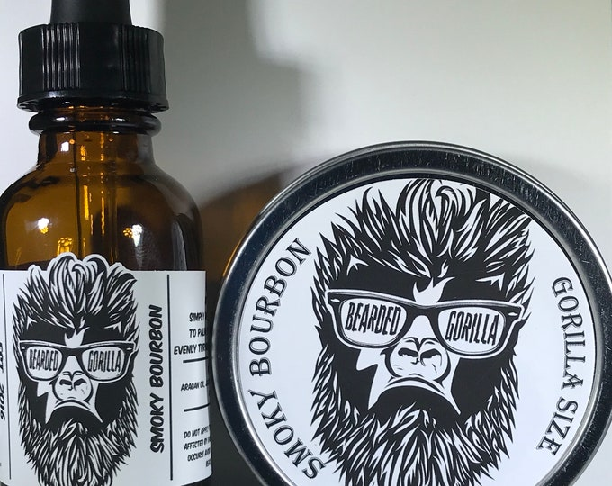 Smoky Bourbon Scented All Natural Moisturizer Beard Balm & Oil Set, Bearded Man Gift, Father's Day Gift, Mens Beard Products-GORILLA SIZE