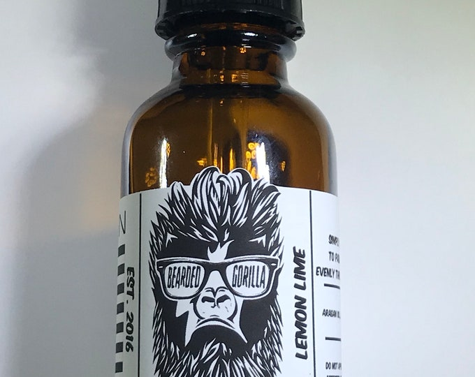 Lemon Lime Scented All Natural Moisturizer Beard Oil, Man Gift, Bearded Man Gift, Father's Day Gift, Mens Beard Products-GORILLA SIZE
