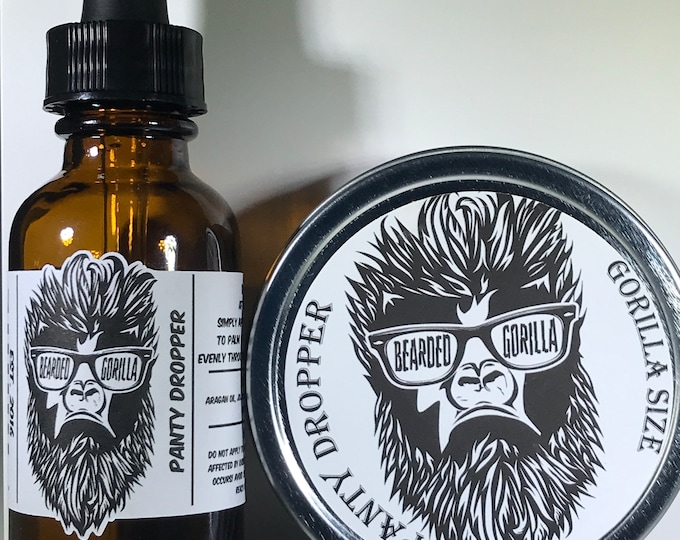 Panty Dropper Scented All Natural Moisturizer Beard Balm & Oil Set, Bearded Man Gift, Father's Day Gift, Mens Beard Products-GORILLA SIZE