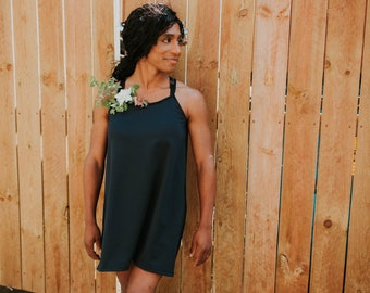 d2b85e0945 Racer Back Swing Dress - Spaghetti Strap - Mid Length - Short Dress -  Sleeveless