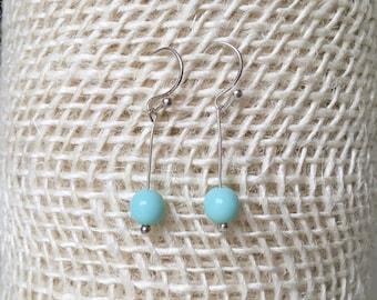 Sterling Silver Baby Blue Drop Earrings