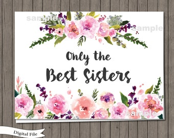Pregnancy Announcement Card Printable - Only the Best Sisters Get Promoted To Aunt - New Aunt Card, New Auntie Card, Floral Pregnancy Reveal