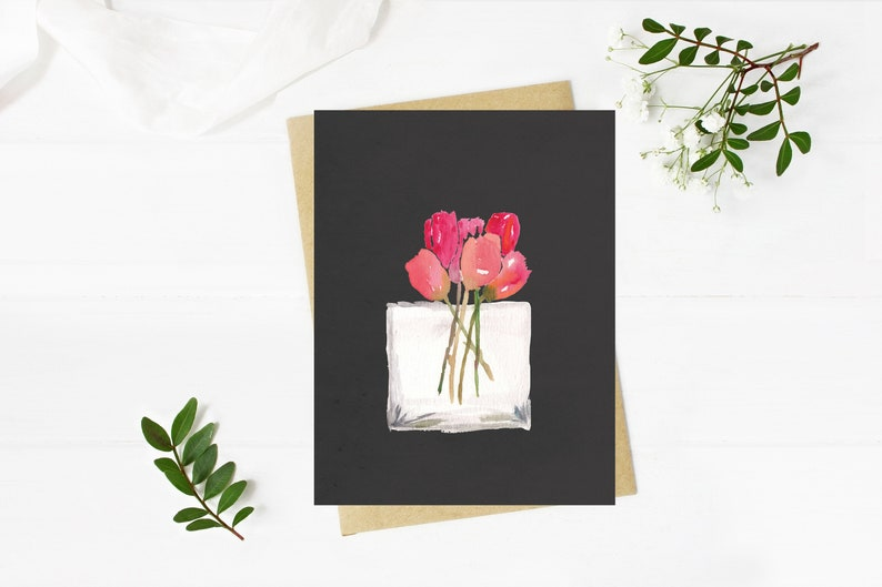 Tulips Handmade Watercolor Greeting Card