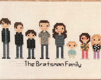 8-character Custom Cross Stitch Family - Wedding Cross Stitch - Cotton Anniversary - Wedding Gift - Anniversary Gift - Family Portrait